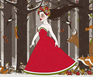 fashion, forest, and goddess image