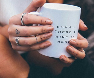 wine, tattoo, and coffee image