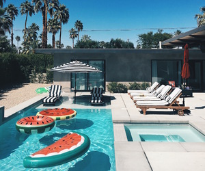 summer, pool, and watermelon image