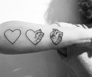 b&w, tattoo, and heart image