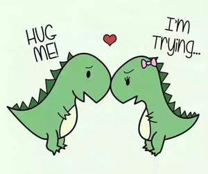 couple, hugging, and trex image