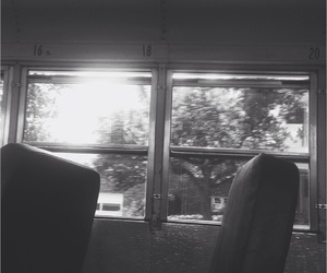 alone, black and white, and bus image
