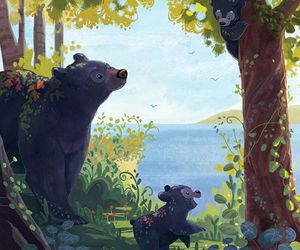 art, bears, and forest image