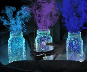 light, blue, and jar image
