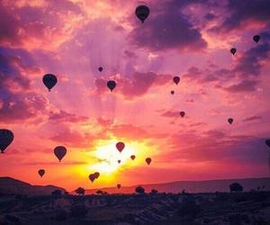 beautiful, sunset, and balloons image