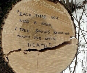 book, tree, and quotes image