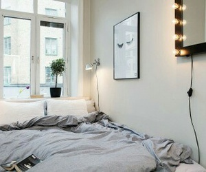 bed, bedroom, and light image