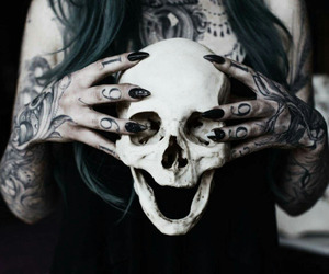 skull, tattoo, and dark image