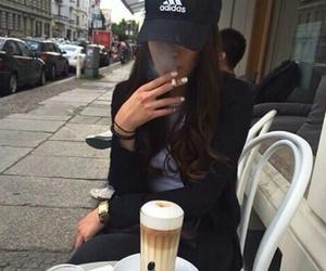 adidas, girl, and coffee image