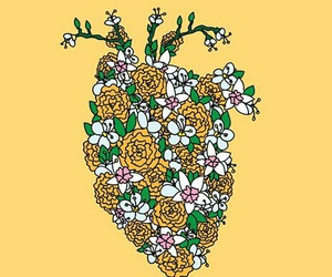 heart, flowers, and yellow image