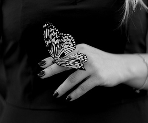 black, nails, and butterfly image