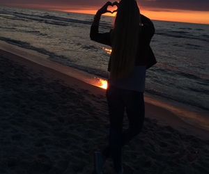 beach, sunset, and beautiful image