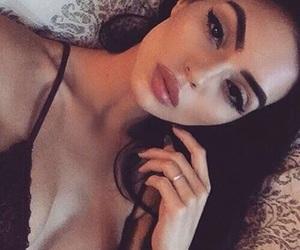 contour, eyeshadow, and pink lips image