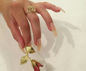 flower, nails, and gold image