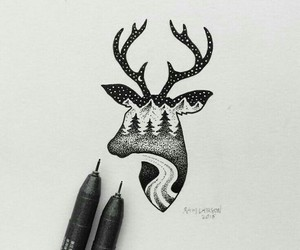 art, black, and deer image
