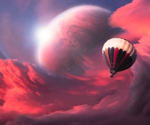 balloon, sky, and clouds image