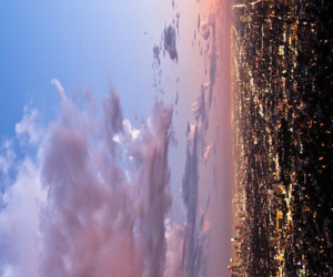 city, clouds, and light image