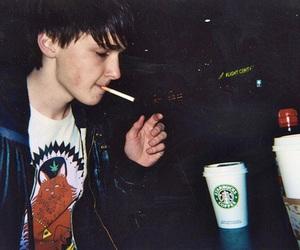 boy, starbucks, and cigarette image