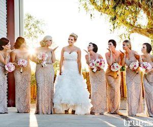 bride, bridesmaids, and gold dress image