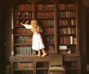 book, library, and little girl image