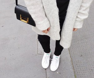 cardigan, fashion, and white shoes image