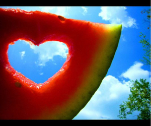 heart, melon, and love image