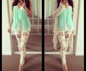 blue, fashionable, and legging image