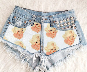 bleached, blonde hair, and denim shorts image