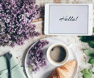 flowers, coffee, and breakfast image