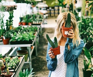 girl, cactus, and plants image