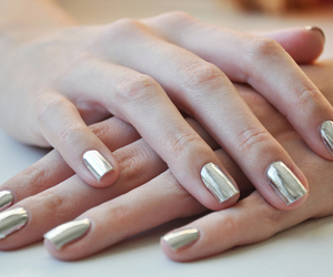 nails, silver, and nail polish image