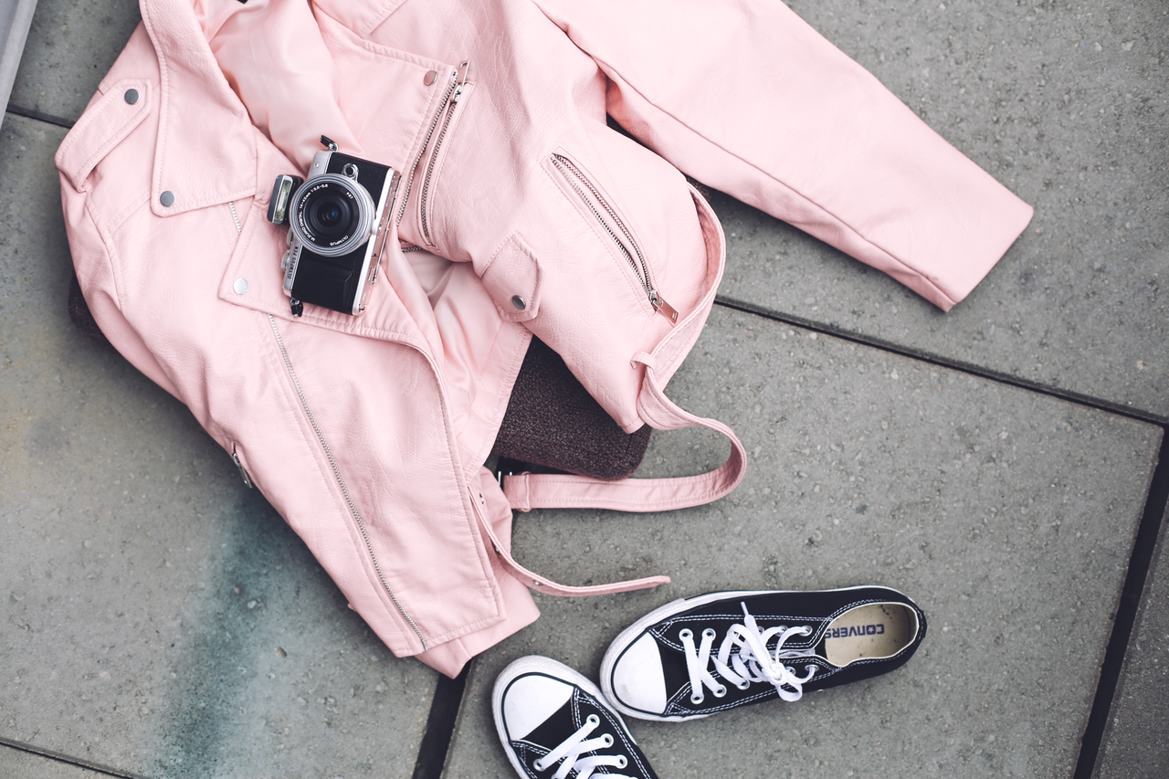 black and white, converse, and leather jacket image