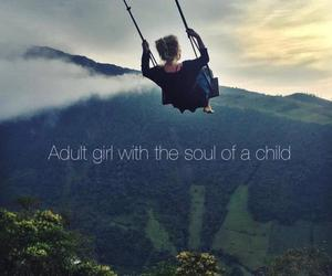 girl, swing, and mountains image