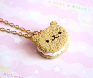 cute, necklace, and cookie image