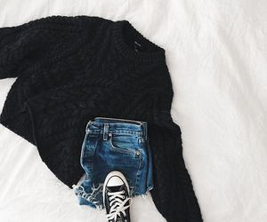 black and white, jeans, and converse image