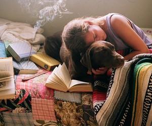 dog, book, and girl image
