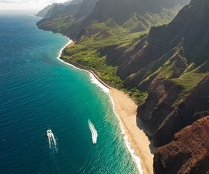 beach, sea, and mountains image