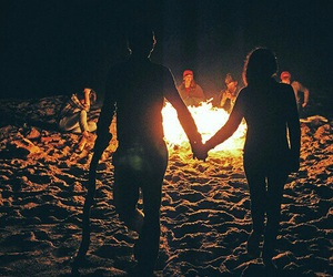 fire, couplegoals, and beach image