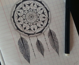 black and white, dreamcatcher, and dreams image