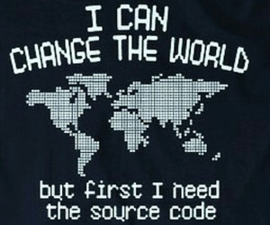 change the world, code, and computer image