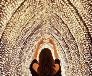 light, girl, and heart image