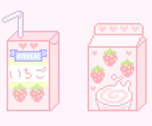 pink, milk, and pixel image