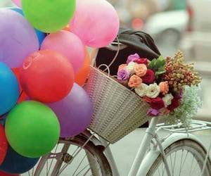 balloons, bicycle, and flowers image