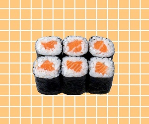 grid, orange, and sushi image
