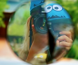 camera, mirror, and cookiemonster image