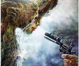 nature, gun, and art image