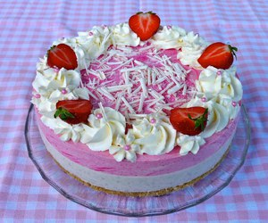 cream, strawberry, and mousse cake image