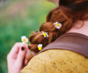 flowers, ginger, and hair image