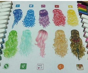 hair, drawing, and color image