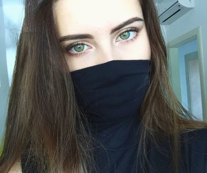 black, greeneyes, and eyebrows image